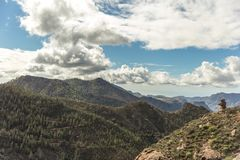 Gran Canaria forest mountain landscape. With sky and clouds Royalty Free Stock Image