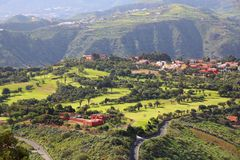 Gran Canaria golf. Course - distant view of a country club in Canary Islands royalty free stock images