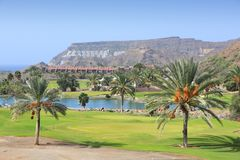 Gran Canaria golf. Course - public street view of a country club in Canary Islands royalty free stock images