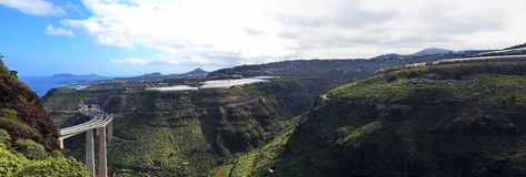 Gran Canaria. Has a well-developed road network stock images