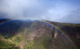 Gran Canaria, January. View across valley Barranco de Guayadeque, declared Natural Monument in Canaries, rainbow stock photography