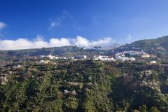 Gran Canaria, January. View across valley Barranco de Las Lagunetas, low afternoon light stock photography