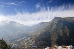 Gran Canaria, January. View across valley Barranco de Las Lagunetas, low afternoon light royalty free stock images
