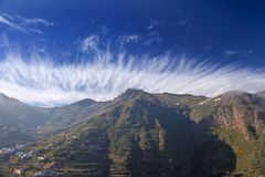 Gran Canaria, January. View across valley Barranco de Las Lagunetas, low afternoon light stock image