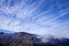 Gran Canaria, January. View across valley Barranco de Las Lagunetas, low afternoon light royalty free stock photography