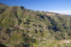 Gran Canaria, January. View across valley steep valley Barranco del Anden, Valsendero stock photos