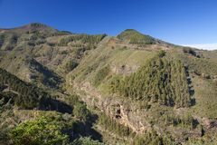 Gran Canaria, January. View across valley steep valley Barranco del Anden, Valsendero stock photography