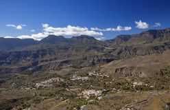 Gran Canaria, January. View across volcanic landscape of Tirajana valley from above, Santa Lucia de Tirajana directly underneath, San Bartolome de Tirajana in royalty free stock photo
