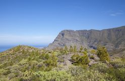 Gran Canaria, January. Views from hiking path La Ruta Del Cartero, Postman route, between Risco de Agaete and La Aldea de San Nicolas stock photography