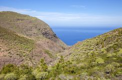 Gran Canaria, January. Views from hiking path La Ruta Del Cartero, Postman route, between Risco de Agaete and La Aldea de San Nicolas, pools of stagnant water stock image