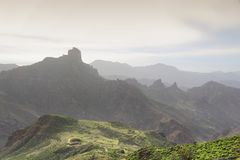Gran Canaria landscape. Misty mountains of Caldera de Tejeda. Winter view royalty free stock photos