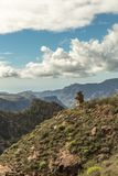 Gran Canaria landscape with mountains. Under blue cloudy sky Stock Photos