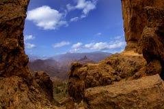 Gran Canaria Losu Angeles culata widok od Roque Nublo Zdjęcia Stock