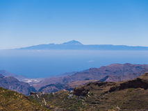 Gran Canaria Mountains. View to Tenerife from the mountains of Gran Canaria royalty free stock photos