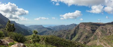 Gran Canaria panorama mountain landscape. In Tejeda forest Royalty Free Stock Photography