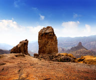 Gran canaria Roque Nublo blue sky Royalty Free Stock Images