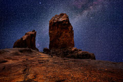 Gran canaria roque nublo in night stars light Stock Photos