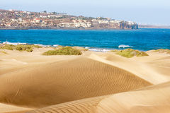 Gran Canaria. Sandy dunes in famous natural Maspalomas beach. Gran Canaria Royalty Free Stock Photography