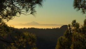 Gran Canaria, solnedgång från Las Cumbres Fotografering för Bildbyråer