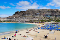 GRAN CANARIA, SPAIN- March 24, 2017: Playa de Amadores. Is a popular artificial sand beach in the south-west of the island of Gran Canaria stock images