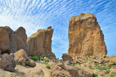 GRAN CANARIA, SPAIN - MARCH 10 2017 - View of the Roque Nublo peak on Gran Canaria island, Spain Stock Images