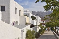 Modern houses and sidewalk in Gran Canaria Spain royalty free stock photography