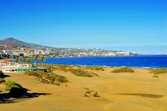 , Gran Canaria, Spain. A view of Playa del Ingles in Maspalomas, Gran Canaria, Canary Islands, Spain stock photo