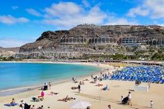 GRAN CANARIA, SPANJE 24 Maart, 2017: Playa DE Amadores stock afbeeldingen