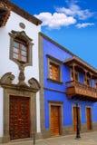 Gran Canaria Teror färgrika facades royaltyfri foto