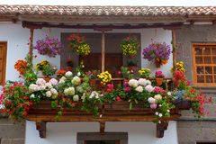 Gran Canaria Teror flower pot balcony. In Canary islands Stock Photos