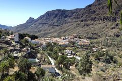 Gran Canaria, view on Fataga village located in the Barranco de Fataga Valley, impressive mountain landscape,  Canary Islands, Spa. Fataga is one of the most royalty free stock images