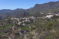 Gran Canaria, view on Tejeda village located, beautiful scenery and impressive mountain landscape,  Canary Islands, Spain. Tejeda located in the centre of the stock photos