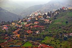 Gran Canaria village. Aerial view of a mountain village in Gran Canaria near Pico de Bandama royalty free stock photos