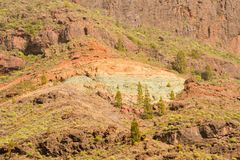 Gran Canaria volcanic landscape Los Azulejos colorful rocks hydromagmatic eruptions. Gran Canaria volcanic landscape Los Azulejos colorful rocks Effect of stock photo