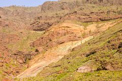 Gran Canaria volcanic landscape Los Azulejos colorful rocks hydromagmatic eruptions. Gran Canaria volcanic landscape Los Azulejos colorful rocks Effect of royalty free stock images