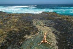 Gran Canaria, zachodni koniec El Confital plaża zdjęcie royalty free