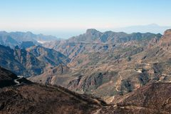 Gran canarias mountains. View on Gran Canaria mountains and twisty road from village Crus de Tejede, Spain royalty free stock photos