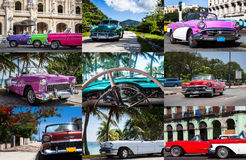 Gran collage de la foto de los coches clásicos en Cuba Imagen de archivo libre de regalías