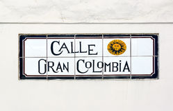 Gran Colombia Street Sign in Cuenca Stock Photo