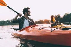 Gran día para kayaking Imágenes de archivo libres de regalías