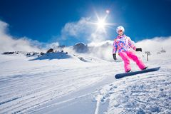 Gran día para la snowboard Fotos de archivo