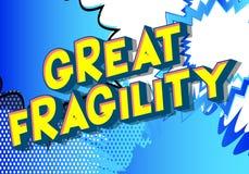 Gran fragilidad - palabras del estilo del cómic ilustración del vector