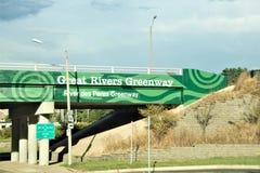 Gran Greenway de los ríos, St Louis Missouri fotos de archivo libres de regalías