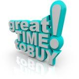 Gran hora de comprar - palabras que animan una venta Imagen de archivo
