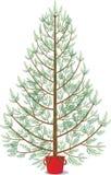Gran i krukan som väntar för att dekoreras för jul vektor illustrationer