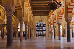 Gran interior de Mezquita de la mezquita en Córdoba España Fotografía de archivo libre de regalías