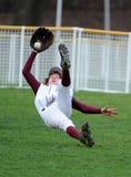 Gran jugador de béisbol de la High School secundaria de la captura imágenes de archivo libres de regalías