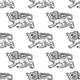 Gran león heráldico inconsútil Foto de archivo libre de regalías