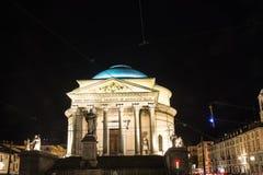 Gran Madre教会在夜之前在都灵在夜之前,意大利 免版税库存图片