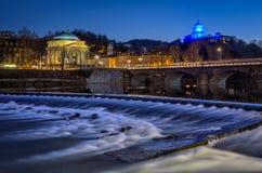 Gran Madre för Torino Turin chiesadella fiume Po Arkivfoto